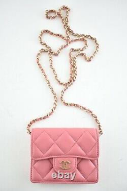 Chanel 21A Mini Wallet On Chain Pink Lambskin Gold Card Shoulder Crossbody Bag