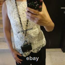 Chanel 21B Black Caviar Mini Chain Classic Gold Card Belt Waist Necklace Bag