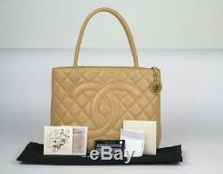 Chanel Beige Caviar Leather Gold Medallion Tote Bag Full Set & Store Receipt