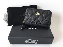 Chanel Black Quilted Caviar Leather Gold CC Logo Coin Purse Zip Nwt