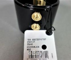 Chanel Bracelet Black Resin Gold Metal Logo Coin CC Cuff Bangle NEW BOX Hinged