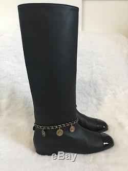 Chanel Leather Knee High Boots Gold Coin Charms 40 $1900
