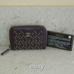 Chanel Purple Lambskin Gold Silver Studs Zip Card Holder Wallet O-Coin Purse