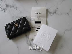 Chanel Zippy Coin Purse Black Caviar Gold Hardware Card Holder Wallet Genuine