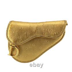 Christian Dior Saddle Coin Card Case Gold Ostrich Leather Italy Auth #OO729 O