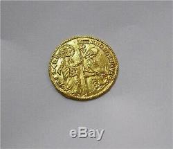 Crusaders Gold Ducat Coin Robert de Tranto 1333-64 Achaea Principality AU