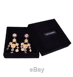 DOLCE & GABBANA RUNWAY Coin Flowers Monete e Fiori Clip Earrings Gold Pink 05462