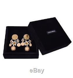 DOLCE & GABBANA RUNWAY Coins Flowers Monete e Fiori Clips Earrings Gold White 05
