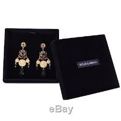 DOLCE & GABBANA RUNWAY Madonna Pizzo Nero Crystal Clips Coins Earrings Gold 0547