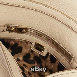 DOLCE GABBANA gold roman coin flap front tan leather clutch crossbody small bag