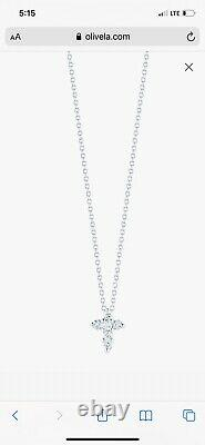 Designer Roberto Coin 18k White Gold Diamond Cross Chain Necklace Tiny Pendant