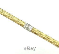 Designer Roberto Coin Silk Weave Bracelet 18K Yellow Gold, Diamonds & MOP
