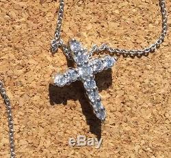 Diamond Cross Necklace White Gold Roberto Coin. 39 ct. 18 Karat Plus Gemstone