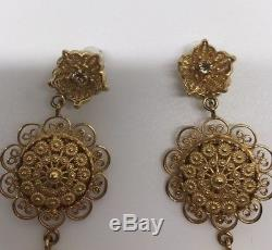 Dolce & Gabbana Jewellery Gold Brass Sicily Coins Floral Earrings Clips Box