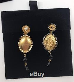 Dolce & Gabbana Jewellery Gold Brass Sicily Maria Coins Floral Earrings Clips