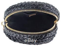 Dolce & Gabbana Miss Glam Black Gold Tone Coin Round Raffia Shoulder Bag Clutch