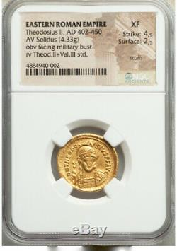 Eastern Roman Empire Gold Solidus Theodosius II 402-50AD XF 4/5 2/5 scuffs