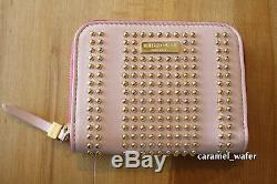 Emilio Pucci Leather Blush/Pink Gold Studded Zip Around Wallet/Coin Purse NEW