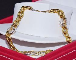 Estate Authentic Roberto Coin 750 18K Solid Gold Diamond Round Link Bracelet