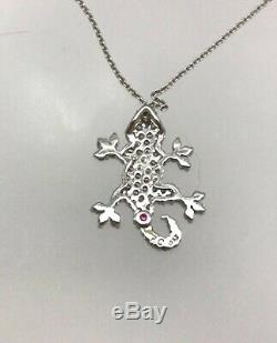 Estate Roberto Coin Gecko 18K White Gold Diamond Pendant Necklace Tiny Treasures