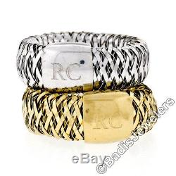 Estate Roberto Coin Set of 2 18k Gold Primavera Woven Flexible Stretch Band Ring