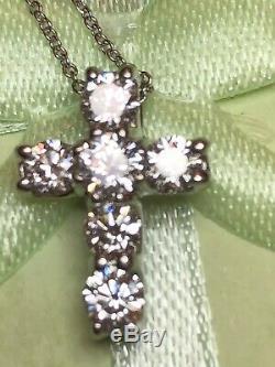Estate Vintage 18k White Gold Diamond Cross Signed Roberto Coin Appraisal Italy