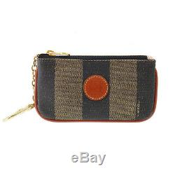 FENDI Pequin Striped Coin Key Case Brown Black Gold PVC Italy Authentic #LL970 S