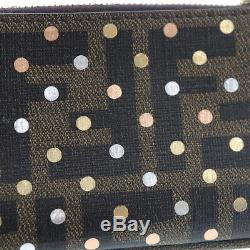 FENDI Zucca Dot Pattern Coin Key Case Brown Gold PVC Italy Authentic #EE396 M
