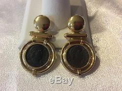 Fine 18k. Gold Italian SignedLegiPendant Earrings with Roman Bronze Coins