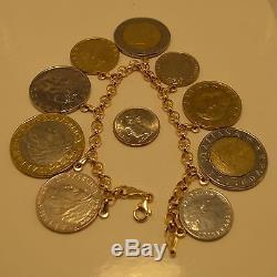 Fun Vintage Milor 14k yellow gold lire Italian coin rolo charm bracelet 7.5 QVC