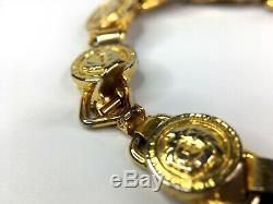 GIANNI VERSACE VINTAGE'90s 10 MEDUSA COINS BRACELET MEN GREEK KEY GOLD ITALY