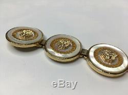 GIANNI VERSACE VINTAGE'90s MEDUSA BRACELET PEARL SHELL GOLD GREEK KEY COINS