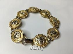 GIANNI VERSACE VINTAGE'90s MEDUSA COINS BRACELET MEN GREEK KEY GOLD CHAIN ITALY