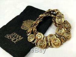 GIANNI VERSACE VINTAGE'90s MEDUSA COINS NECKLACE GREEK KEY AGING GOLD ITALY