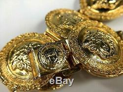 GIANNI VERSACE VINTAGE'90s MEDUSA MEDALS BRACELET GREEK KEY COINS GOLD ITALY