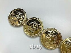GIANNI VERSACE VINTAGE'90s MEDUSA MEDALS GOLD BRACELET GREEK KEY COINS ITALY