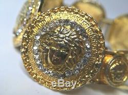 GIANNI VERSACE VINTAGE'90s MEDUSA RHINESTONES BRACELET GREEK KEY COINS GOLD