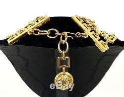 GIANNI VERSACE Vintage Gold Metal Medusa Coin Multi-Chain Choker Necklace