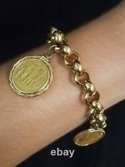GOLD Charm Bracelet with 2 French Bullion Coins (24k) 14k Chain & Bezels Total 42g