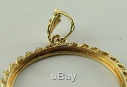 GORGEOUS 14K SOLID GOLD BEZEL PENDANT FOR ANY 32-34mm DIAMETER GOLD COIN NO RSRV