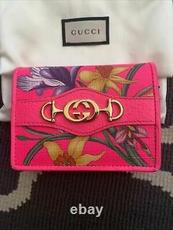 GUCCI Flora Pink Trapuntata Interlocking G Horsebit Pink Card Coin Case Wallet