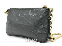 GUCCI Guccissima 233183Leather Coin Purse Compact Wallet Case Black Gold Italy