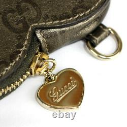 GUCCI Heart Shaped Coin Case Guccissima Bronze #52799 free shipping from Japan