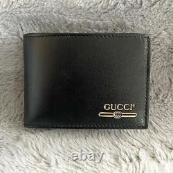 GUCCI Leather Mini Bifold Wallet With Gold Gucci Logo NEW IN BOX 547595