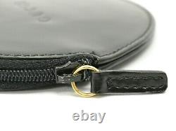 GUCCI Leather Round Coin Purse Case Pouch Zip Around Black Gold Unisex Italy