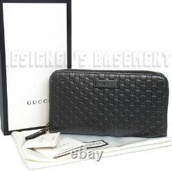 GUCCI black MICRO GUCCISSIMA gold-toned zip around wallet NIB Authentic 449391