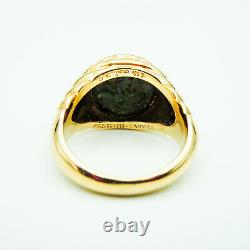Genuine Bulgari Ancient Coin Ring 18 Kt Yellow Gold Very Good Condition