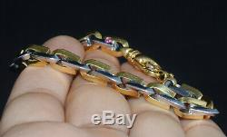 Genuine Roberto Coin 18K Solid Yellow Gold White Gold Ruby Mens Womens Bracelet