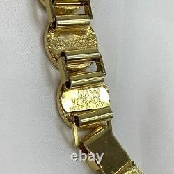 Gianni Versace Bracelet Coin Medusa 90s Vintage Greek Key Bangle Aging Gold