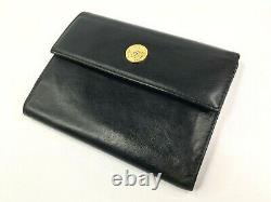 Gianni Versace Vintage'90 Gold Medusa Coin Leather Wallet Trifold Purse Italy